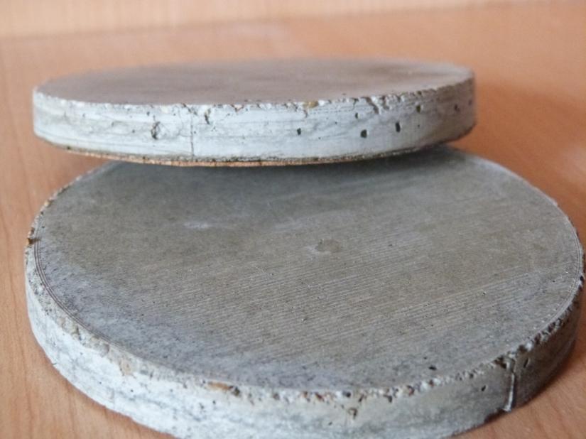 Grey concrete coasters made using Gem's Concrete Gems Make your Own Concrete Coaster Kit