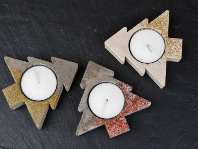 Concrete star tealight holders with gold or red glitter decoration