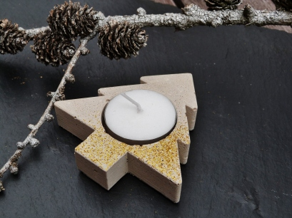 Concrete tree tealight holders with red or gold glitter decoration for Christmas
