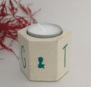 Hexagonal concrete tealight holder personalised