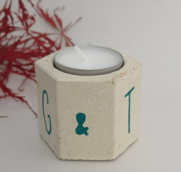 Hexagonal concrete tealight holder personalised